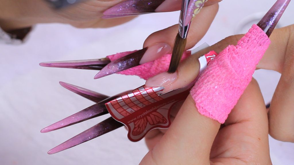 Create nail bed extension with Cover Pink Powder and Xtreme Jewel Brush